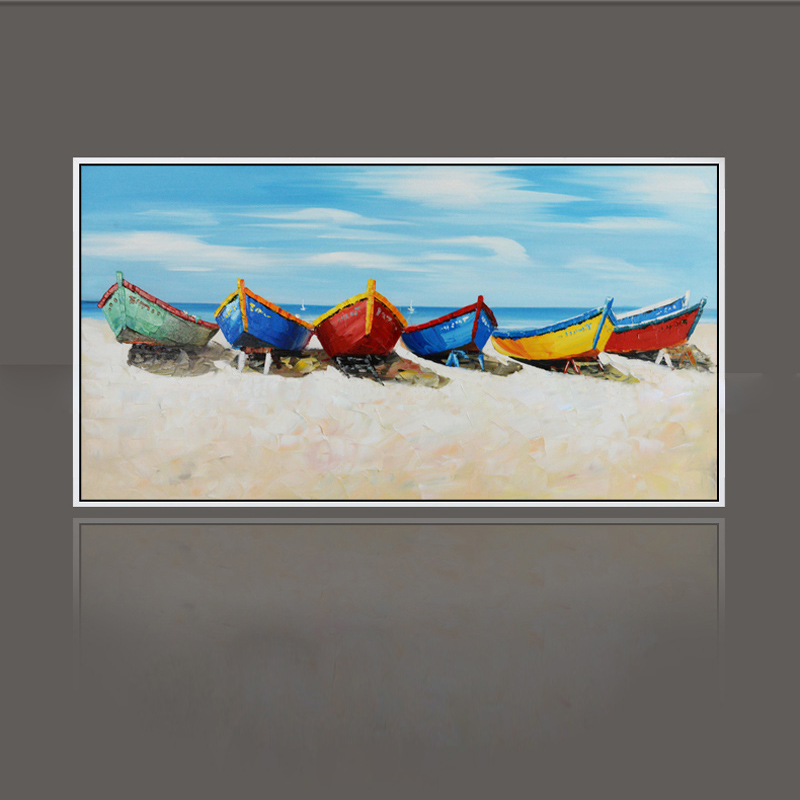 font b Knife b font painting oil painting modern the beach and the boat Home