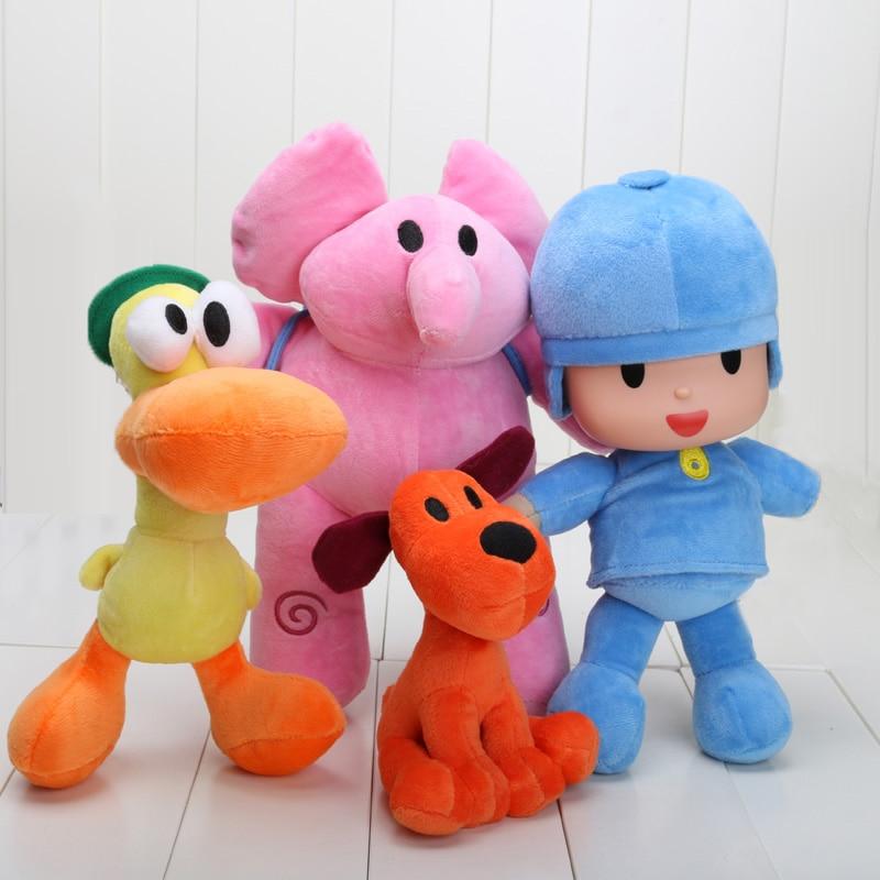4pcs/set 14-30cm Pocoyo Loula Elly Pato Stuffed Animals Plush Toys Free Shipping