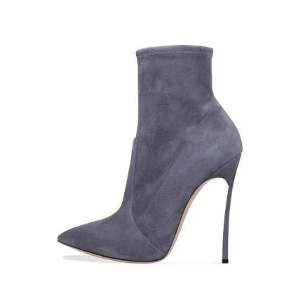 Elegant Blade Heel Ankle Boot Pointy Toe Slip-on Women Winter Short Boot Metal Heels Party Dress Shoes Sexy Ankle Boots
