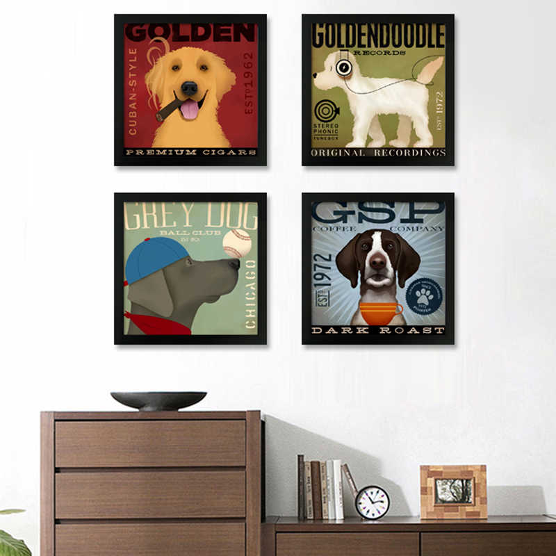 Modern Nordic Art Canvas Painting Dog Listen To Music Movement Animals Art Prints Poster Wall Pictures No Frame Kids Room Decor