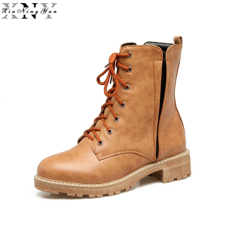XiuNingYan Women Ankle Boots Heels Lace Up Casual Shoes Woman Oxfords Black Yellow Martin Boots Leather Plus Size Winter Boots z suo brand new winter women motocycle boots leather lace up ankle martin boots shoes black brown high quality