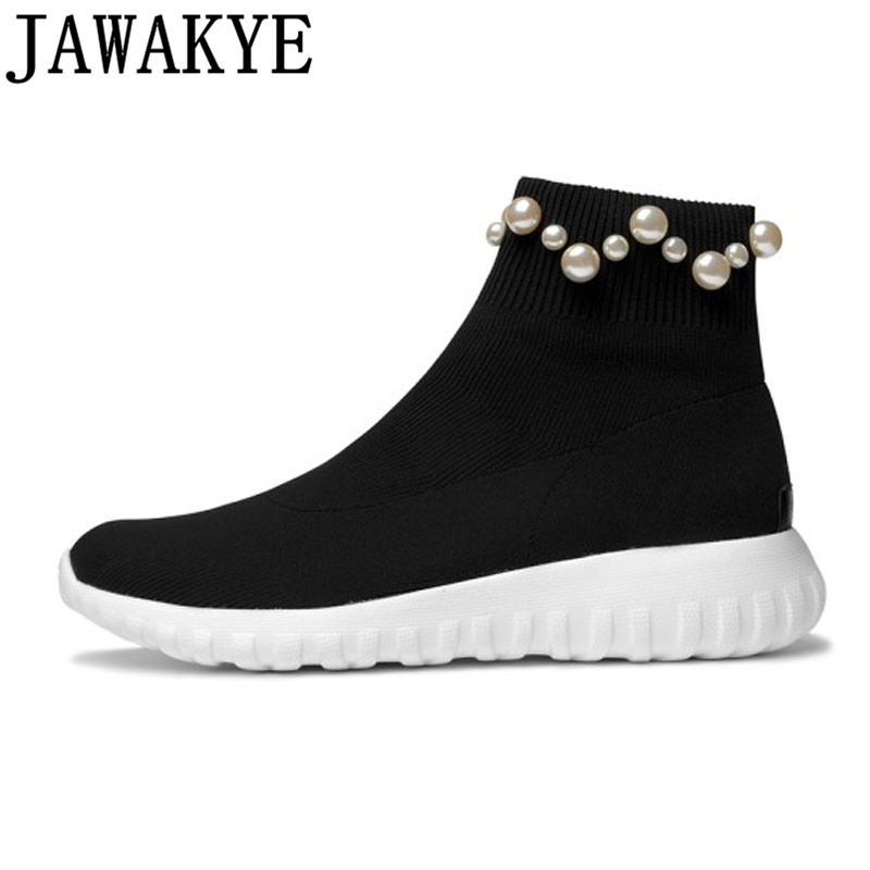 Knitted stretch Ankle Boots for women stripe pearled platform Flat heels sneakers Socks Shoes Female Booties 2018 casual shoes