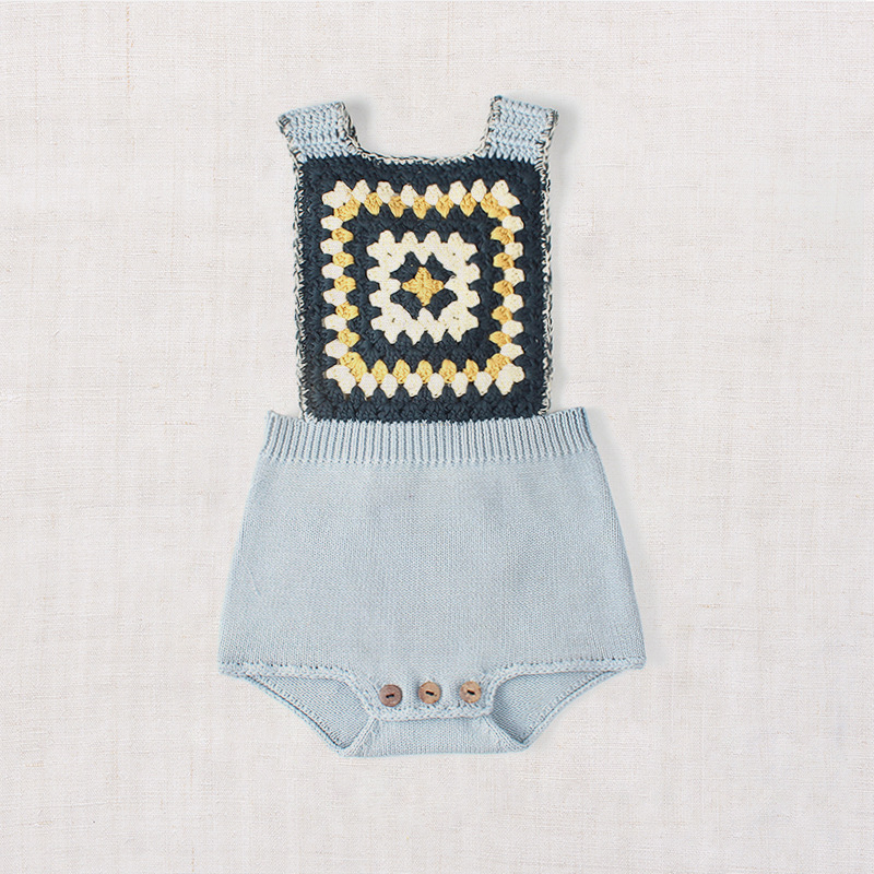 Kids knitting overall romper button suspenders toddler baby girls boys jumpsuit boutique knitted newborn baby clothes
