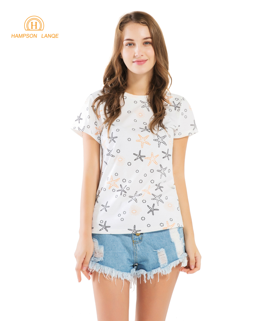 HAMPSON LANQE Starfish Print Kawaii Women T Shirt 2019 Summer Hot Tops Cotton Short Sleeve T-Shirt Star Cute Hipster T Shirts