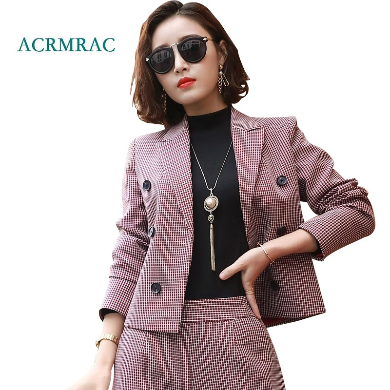 c155591d6c5 ACRMRAC Women suits new autumn Slim Short jacket Wide leg pants Suit ...