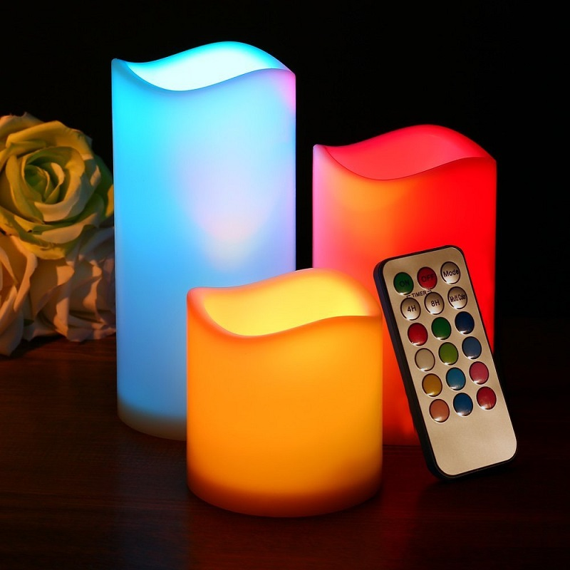 Ledertek Set Of 3 Colored Battery Powered Flameless Candle