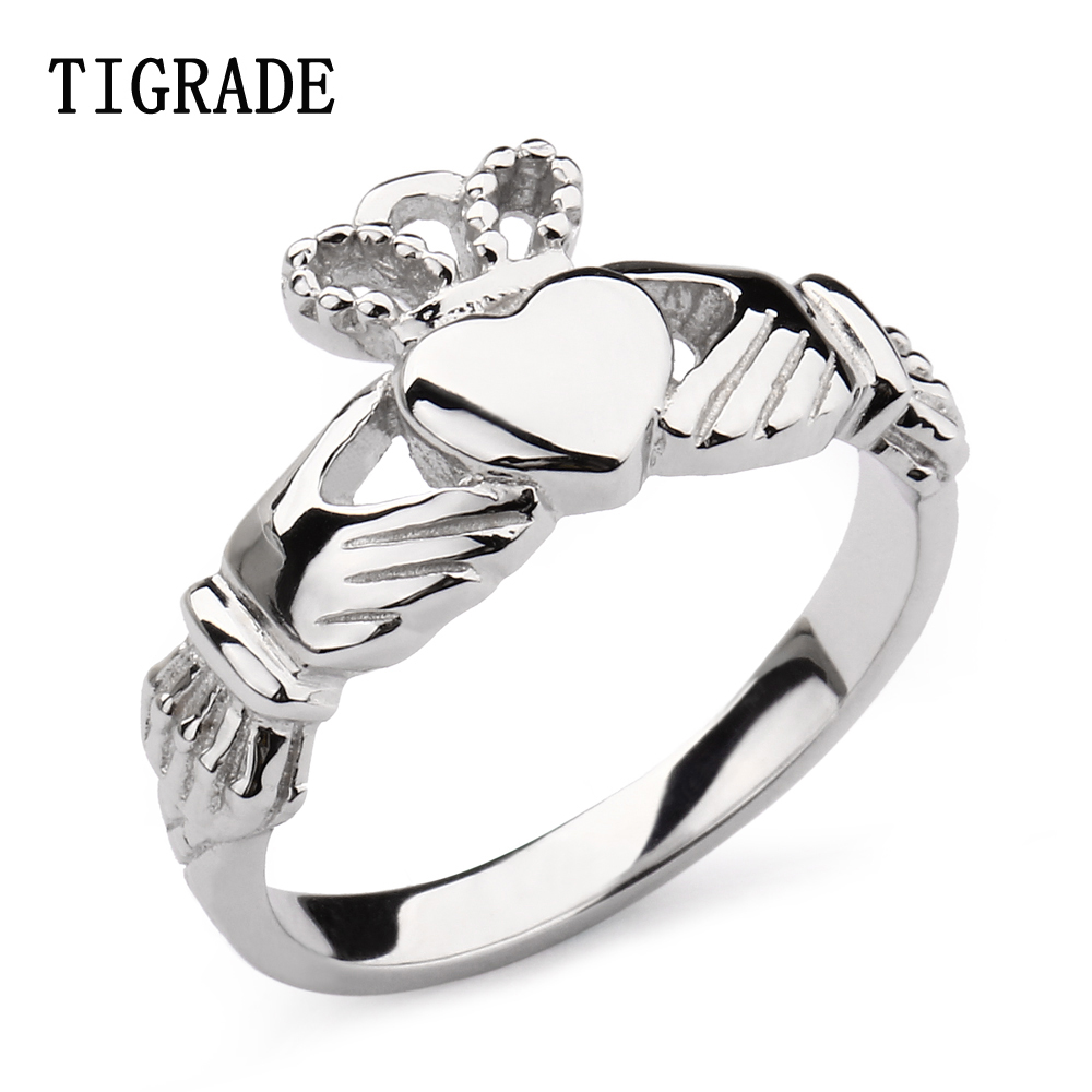2mm Hand Heart Crown Claddagh Silver Ring Women High Polished Wedding Band  925 Sterling Silver Jewelry Engagement Rings Female
