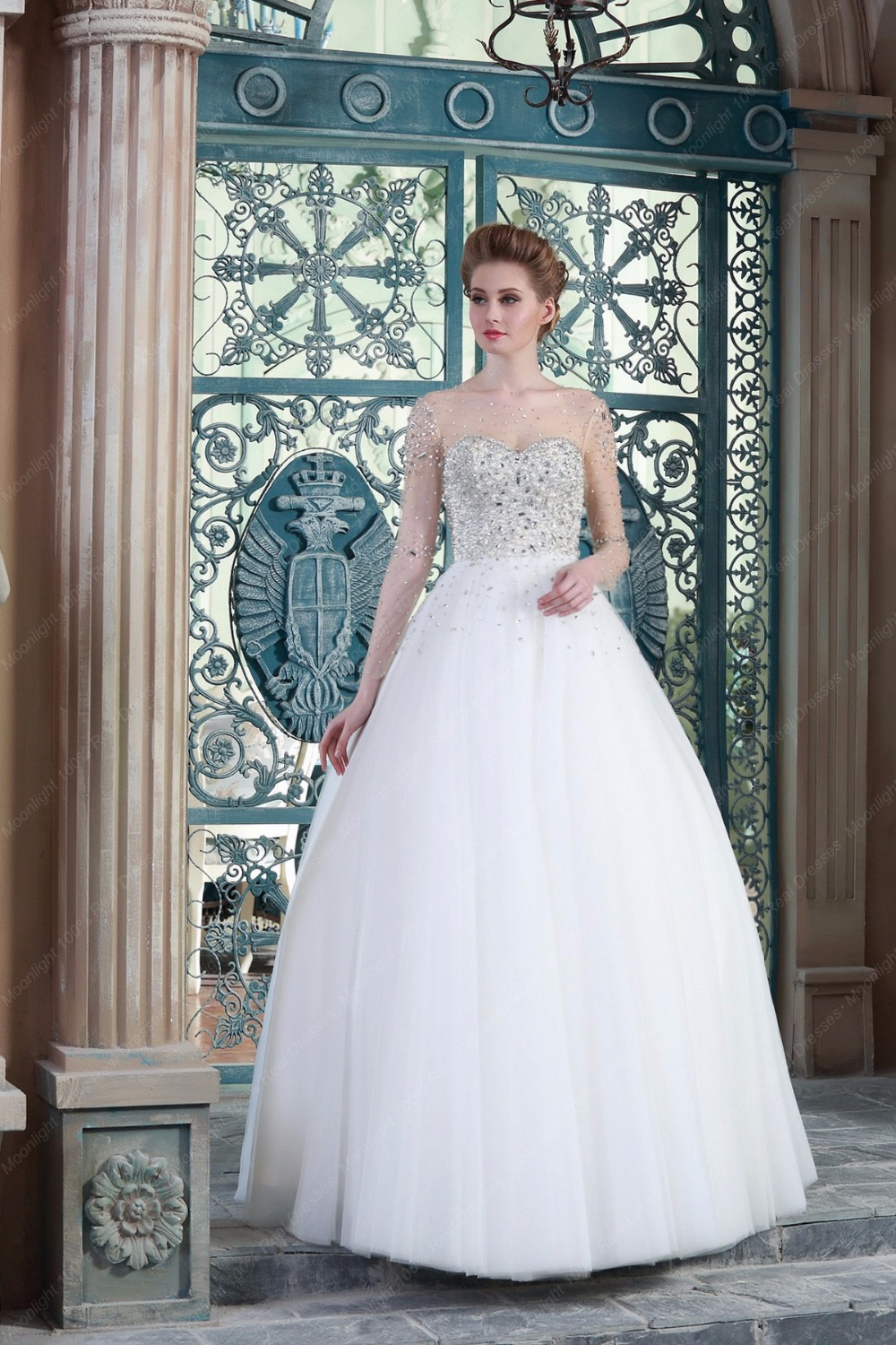 Online Shop Real Sample Sheer Scoop Neck Long Sleeve Wedding Dress 2015 Crystal Beaded Bodice Tulle Skirt Bridal Gowns