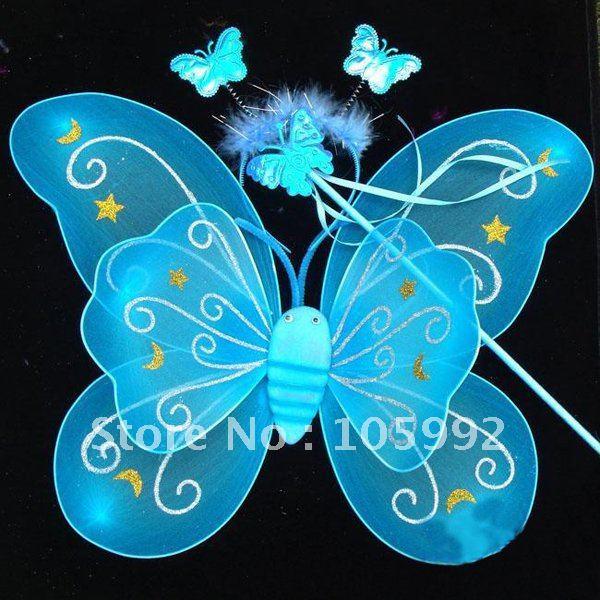 10 комплектов Дети Фея крыло Ангела рождественской вечеринки Фея крыло + волшебная палочка + голову обруч больше цвета