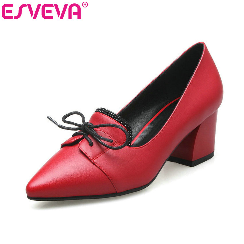 ESVEVA 2017 Shallow Women Pumps Square Med  Heel PU Pointed Toe Sweet Dating Shoes Summer Spring Bowtie Women Shoes Size 34-43 2014 new fashion square heel shoes shallow mouth bowtie shoes dating casual pumps hot sale eur size 34 43