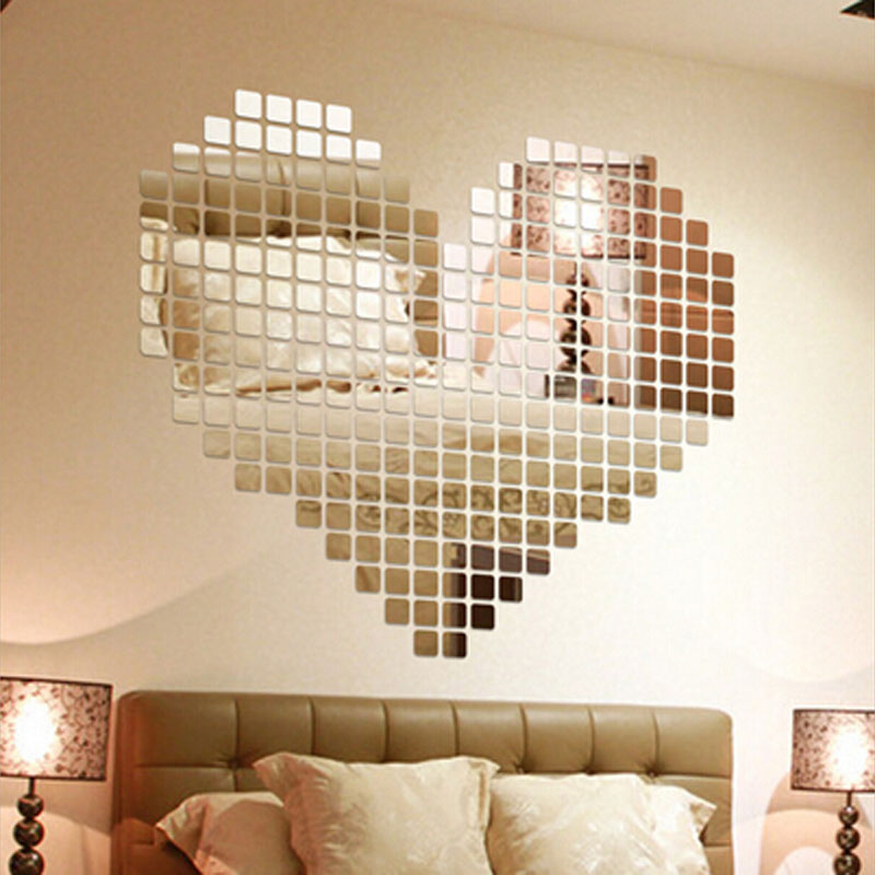 100 pieces set plastic diy self adhesive tile 3d mirror wall stickers decal mosaic effect for. Black Bedroom Furniture Sets. Home Design Ideas