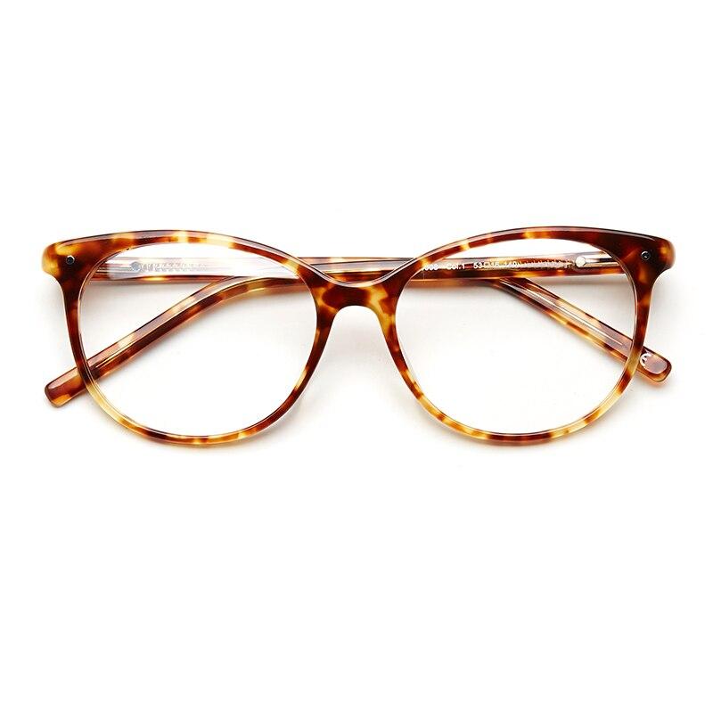 Acetate Spectacle Frame Glasses Women Vintage Trendy Clear Transparent No Degree Rivet Women Frame For Eyeglasses#OA16008