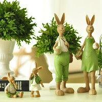 Home Pantanal Family Creative Rabbit Resin Home Decor Gift for Friend Garden Home Decoration Resin Crafts L3298