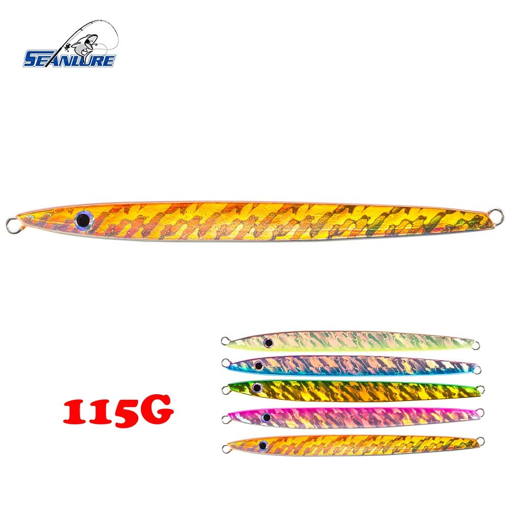 Seanlure Deep Sea Hook Glow Jig Foil Artificial 1pcs/Pack 17.2cm 115g Slender Shape Ocean Swimbait Fishing Lure Jig Tackle