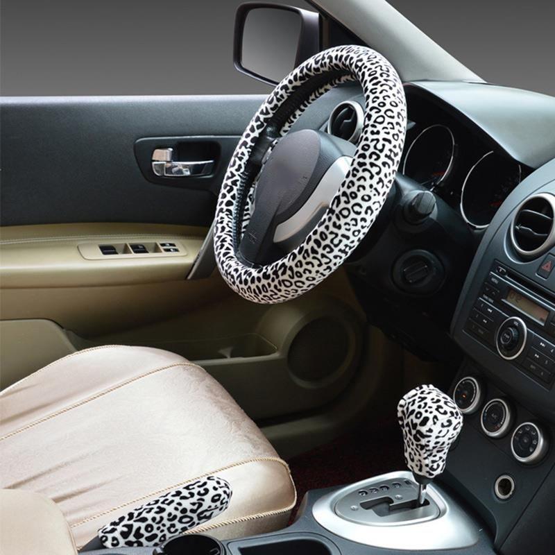 Леопардовый принт, автомобильный чехол на руль, зимний плюшевый тормоз, комплект