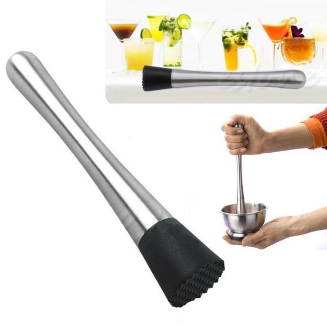 1 pcs Thép Không Gỉ Bar Cocktail Mojito Bạc Hà Muddler DIY Uống Trái Cây Ice Cocktail Mixer Muddler Bartender Barware Bar Công Cụ