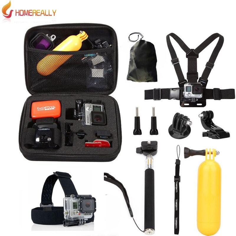 HOMEREALLY Gopro Accessoire Set pour Gopro Hero 5 4 3 kit montage pour SJCAM SJ4000 SJ5000 SJ6000 SJ9000 xiaoyi M10 M20 D'action caméra