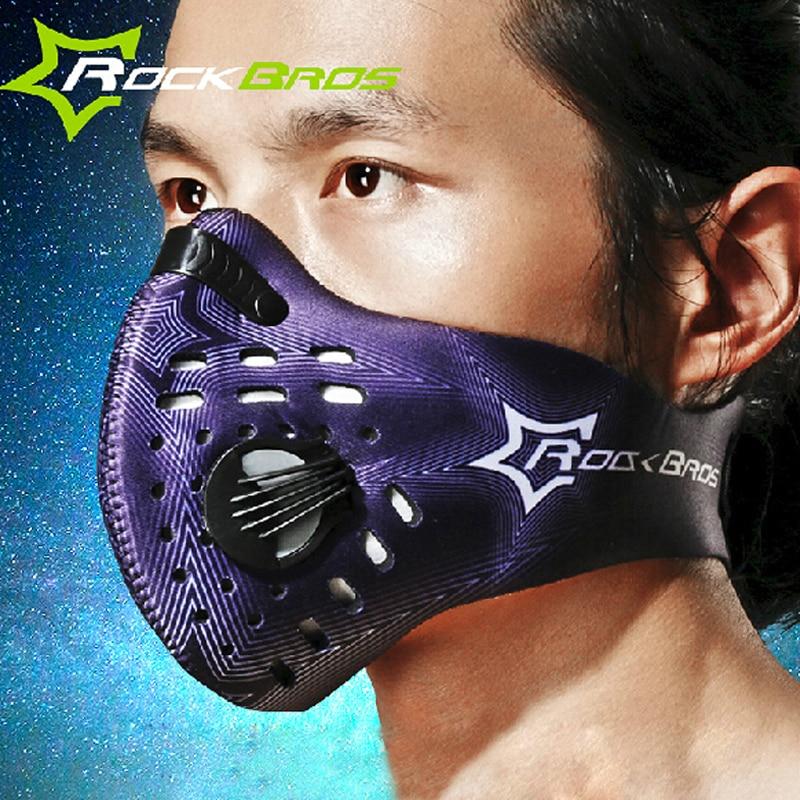 ROCKBROS Carbon Cycling Face Mask Dustproof Sport Training Bike Mask Filter Downhill Bicycle Mask Mascara Bicicleta Moto Mask newest pt training sport mask sliver model for mma sport gym training of mask 2 0