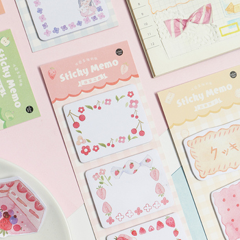 6pcs Cute sticky note set Toast Cake Fruit Cookie memo pad Mini color post stickers marker it Stationery Office School F639