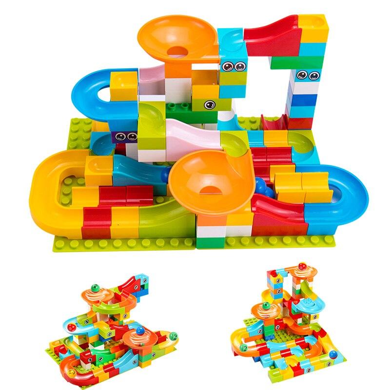 Tumama 52-208Pcs Marble Race Compatible LegoINGly Duploedd Building Blocks