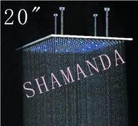 Бесплатная доставка 20 дюймов 500*500 мм Самостоятельная светодиодная душевая головка свет Душ три цвета 20019