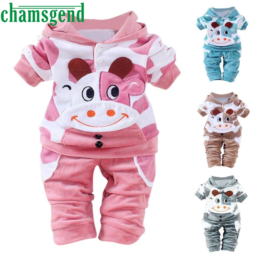 children set clothing Clothing Set Warm Newborn Baby Girls Boys Cartoon Cow Warm Outfits Clothes Velvet Hooded Tops Set P30 db26