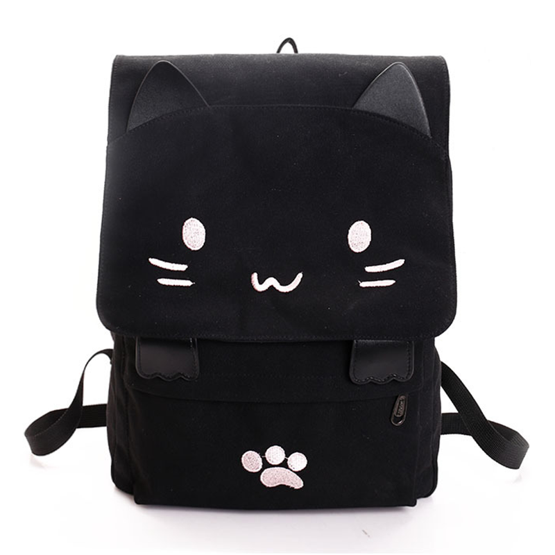 Cute Cat Canvas Backpack Cartoon Embroidery Backpacks For Teenage Girls School Bag Fashi ...
