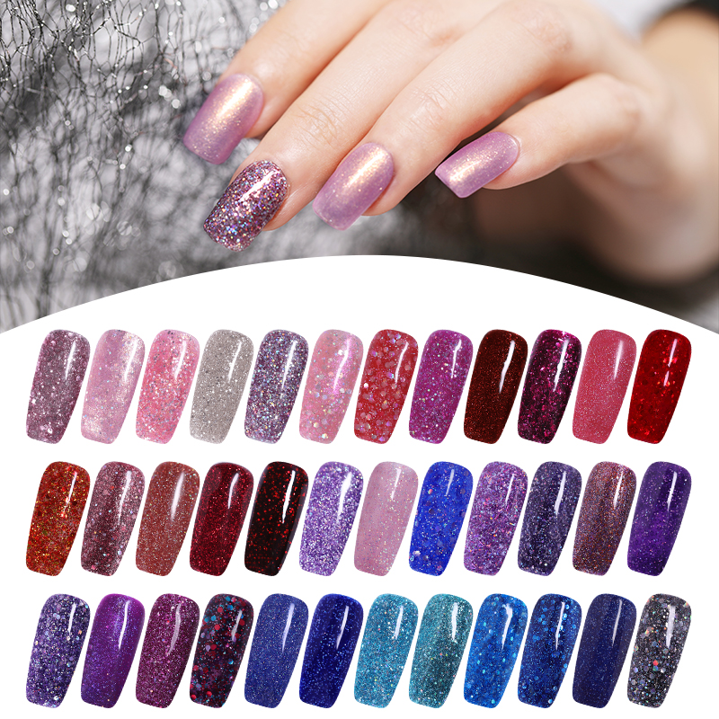LEMOOC Glitter Nails Gel Polish Lucky Hybrid Varnish 5ML 180 Colors Semi Permanent For Nail Art UV Gel Nail Polish Lacquer