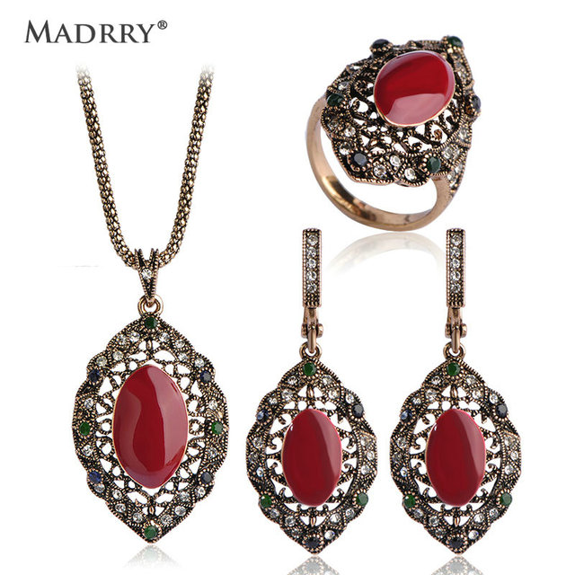 Madrry Brand Royal Design Turkish Vintage Jewelry Sets Necklace