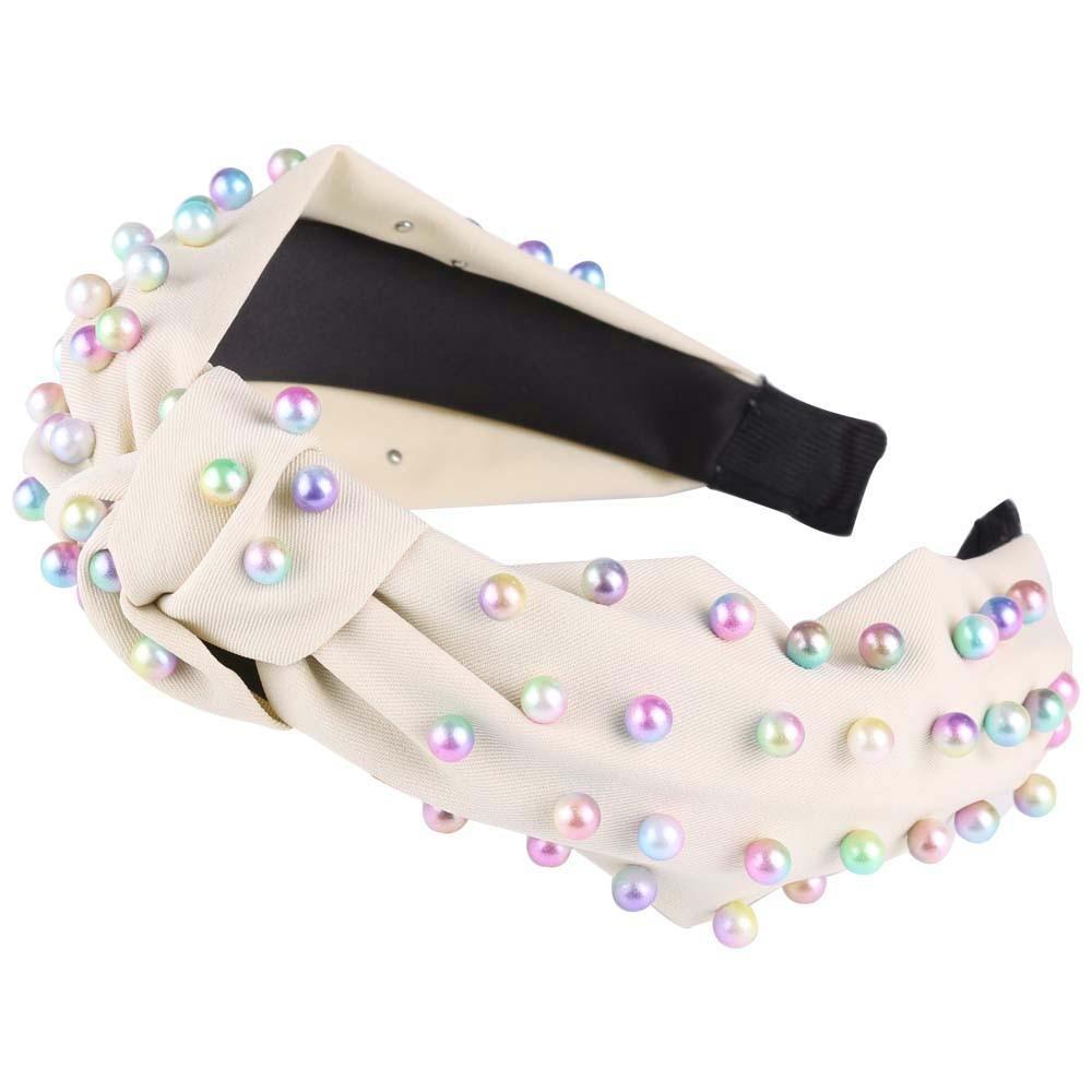 AWAYTR Color Pearl Knot Velvet Cloth Headband for Women Pearl Beads Hairband Hair Hoop Ladies Girls Headpiece Hair Accessories in Women 39 s Hair Accessories from Apparel Accessories