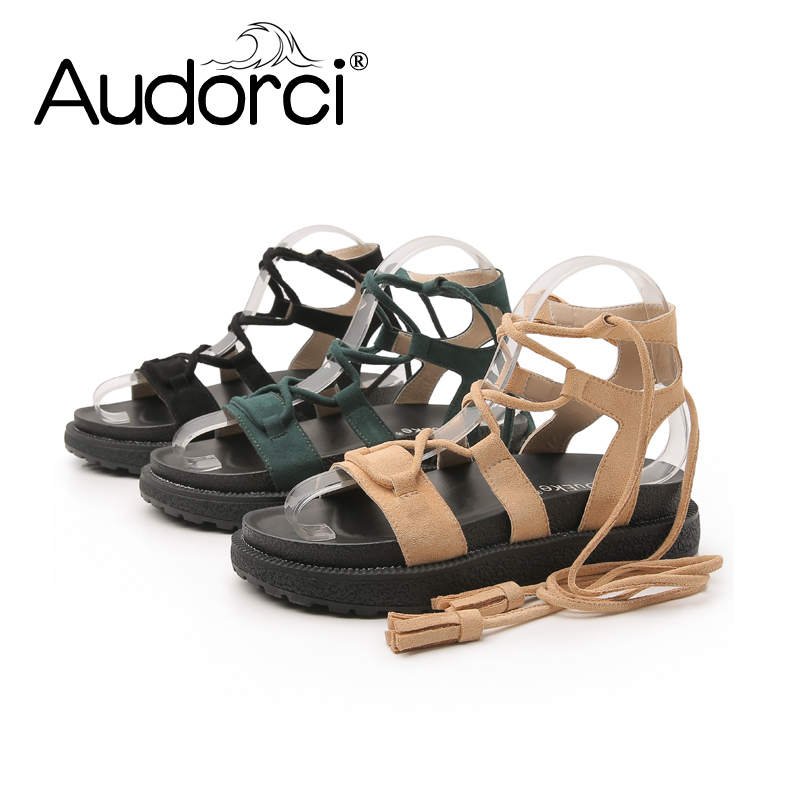 Audorci 2018 Women Sandals Summer Woman Casual Shoes Flat Shoe Roma Tassel Lace-Up Sandals Ladies Flip Flops Sandales Size 34-43 women sandals fashion tassel summer shoes woman size 35 43 flat sandals metal decoration casual shoes female flip flops sandales
