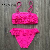 MS SHANG 2017 Tiered Blue Pink Children Swimwear Girl Swimsuit Yellow Ruffle Kids Swimsuit 7 14