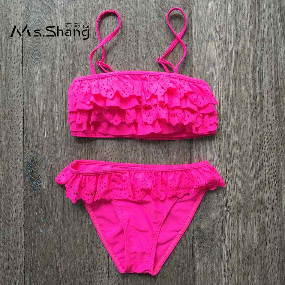 14c80bdb56 Ms. Shang 2018 Children Swimwear Baby Girl Swimsuit Bikinis Solid Kids  Swimsuits 7~14