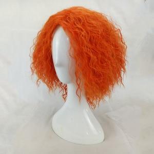 Image 3 - Hairjoyマッドハッターコスプレ変態カーリーウィッグ人工毛女性ミディアムの長さのオレンジグリーンかつら高温繊維