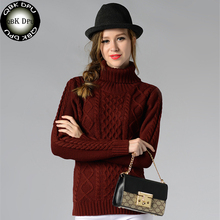 QBKDPU 2017 NEW High quality fashion Turtleneck warm winter sweater women knitted pullovers font b christmas