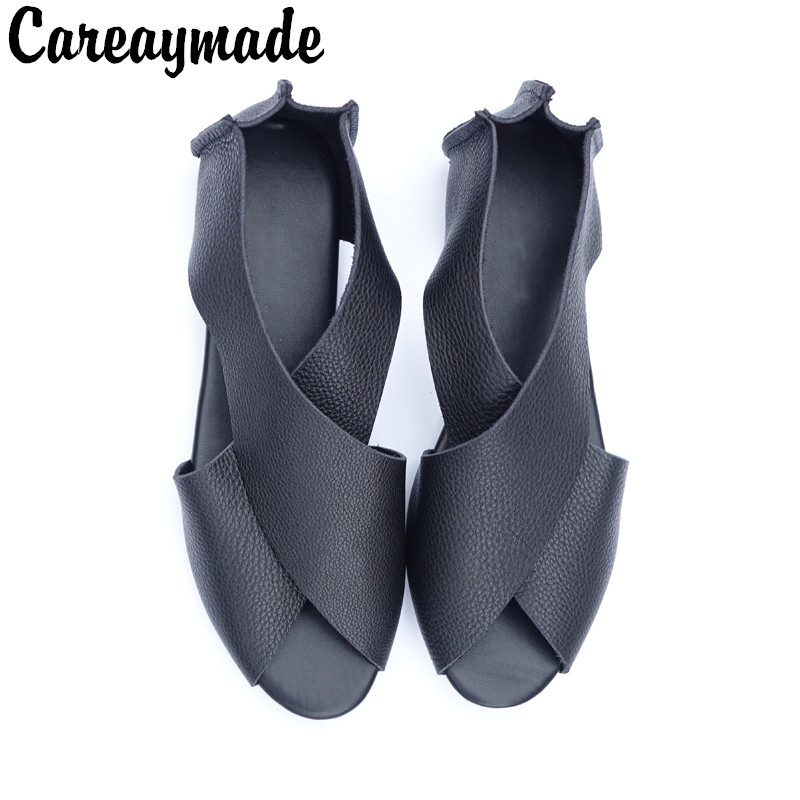 Careaymade 2019 new real leather summer women s sandals fish mouth comfortable sandals women s beef