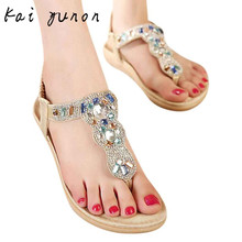 kai yunon Women's Fashion Sweet Beaded Clip Toe Flats Bohemian Herringbone Sandals  Aug 29
