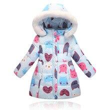 Новые девушки осень/зимнее пальто дети 2016 мода верхняя одежда дети теплый толстый пуховик для девочек с капюшоном мультфильм вниз куртка