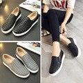 2016 весной Платформы Обувь Повседневная Обувь Натуральная Кожа Плоские Туфли Черный Серый Марка Обувь Квартиры