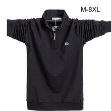 поло Для мужчин рубашка Лонгслив Большие размеры 6XL 7XL 8XL модные Для мужчин Бизнес Повседневное хлопок мужские рубашки с длинным рукавом Soild отложной воротник