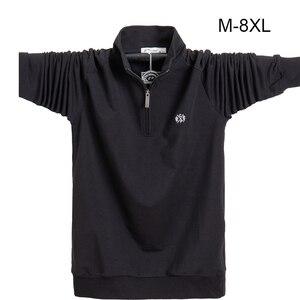 Image 1 - Koszula męska z długim rękawem Plus rozmiar 6XL 7XL 8XL moda męska Business Casual bawełniana koszula męska z długim rękawem Soild skręcić w dół kołnierz