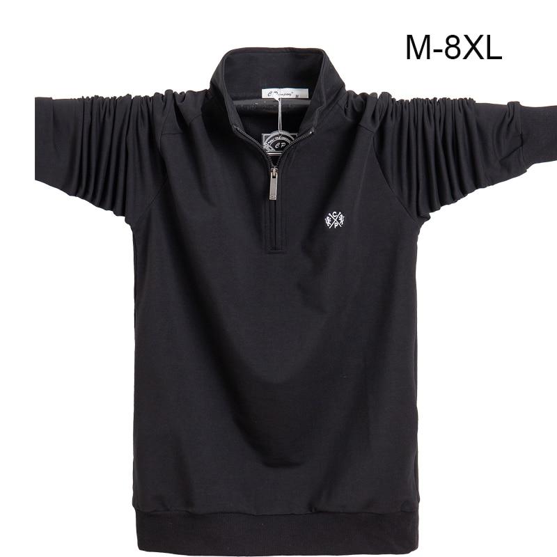 Men Shirt Longsleeve Plus Size 6XL 7XL 8XL Fashion Men Business Casual Cotton Male Shirt Long Sleeve Soild Turn-down Collar