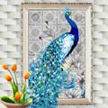 32*45cm 5D Diamond Embroidery DIY Beautiful Blue Peacock Pictures Diamond Mosaic Needlework Cross Stitch Kits Home Decor Canvas