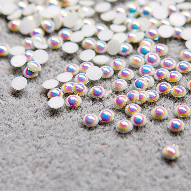 200pcs Hot South Korea Imported Highlight Bright AB Colorful/White Pearl Top Level Nail Art Glitter pearls Nail Decorations Bead