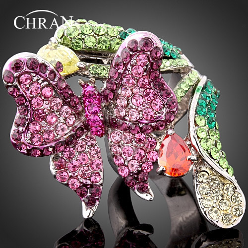 Chran Charm Butterfly Design Enamel Crystal Rings for Women Lovely Heart Cubic Zircon Female Party Accessory Valentines Gifts