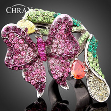 Free Shipping High Quality Purple  Imitation Diamond Animal Ring Butterfly