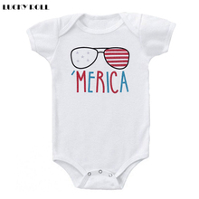 LUCKY ROLL Summer season Child Bodysuit America Printed Sunglass Sample Child Jumpsuit White Quick Sleeve Cotton Onesies New child Outwear