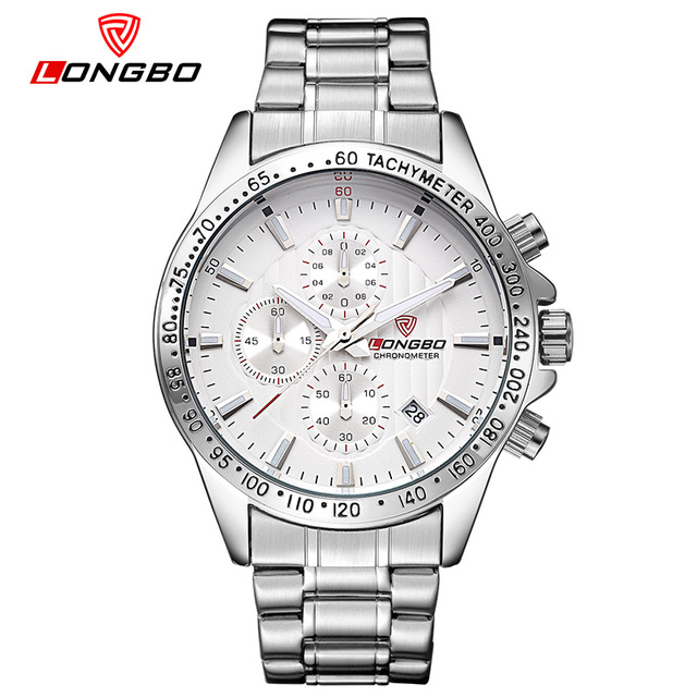Mens Watches Top Luxury Brand LONGBO Quartz Watch Men Fashion Stainless Steel Waterproof Sports Military Wrist Watches 80177
