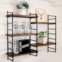 Wall Shelves Floating Shelf Iron Bookshelf Wall Mounted Commodity Shelf  Shelving Combination Storage Rack Floating Shelves Retro