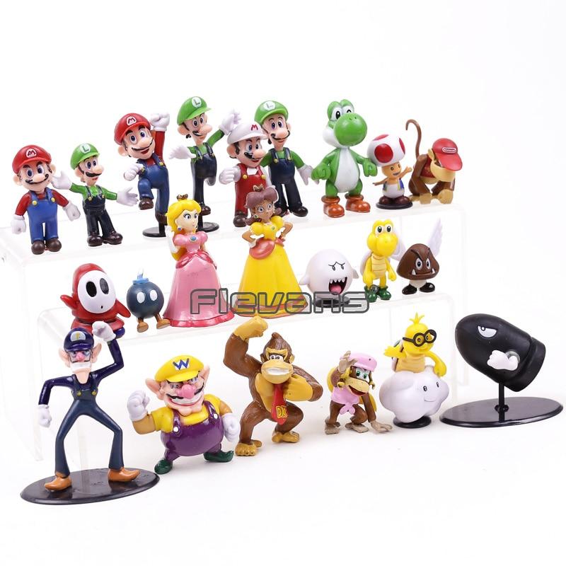 Super Mario Bros Action Figure Doll Lot 22Pcs Playset Figurine Toy Model Dolls